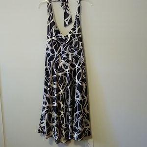 Cream and black satin feel halter dress